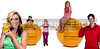 Variety of people standing around oranges with a nutrition labels