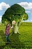 Beautiful woman standing beside a broccol treei in a field
