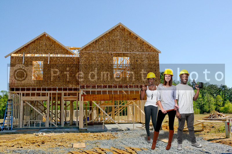 Construction workers at the building of a new residential home