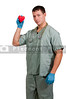 Man doctor cardiologist holding a red heart