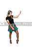 Beautiful woman with headphones playing the air guitar