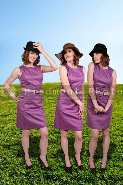 Beautiful young woman in a sleeveless mod dress and cloche bell hat