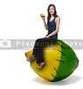 Beautiful young woman sitting on a lemon lime