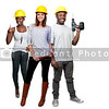 A black man and African American woman and caucasian woman construction worker a job site