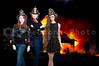 Beautiful women firefighters at a blazing fire