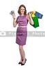 Beautiful woman shopper holding a hand full of 100 dollar bills