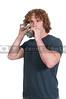 Man using tin can phone