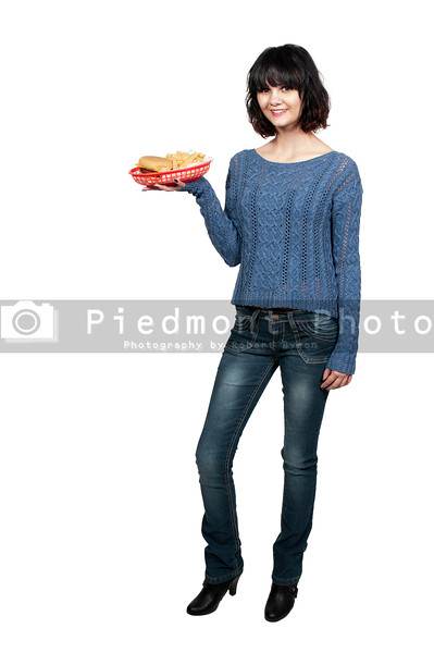Woman with Hambrger and Fries
