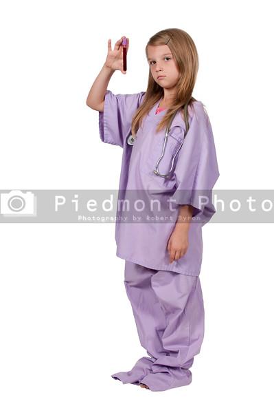 Little Girl Nurse with Blood Sample