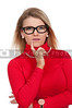 Woman wearing her glasses