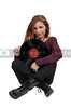 Woman with vinyl record