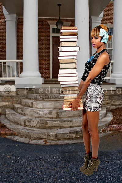Woman holding books