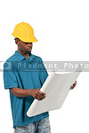 Black Construction Worker with Blueprints