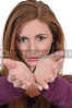 Woman with outstretched hands