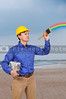 Man painting a rainbow