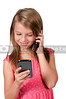 Little Girl Using Cell Phones