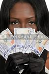 Black woman Holding 100 Dollar Bills