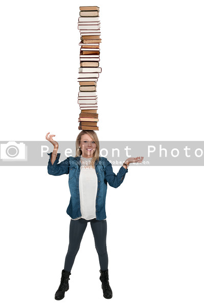 Woman carying books