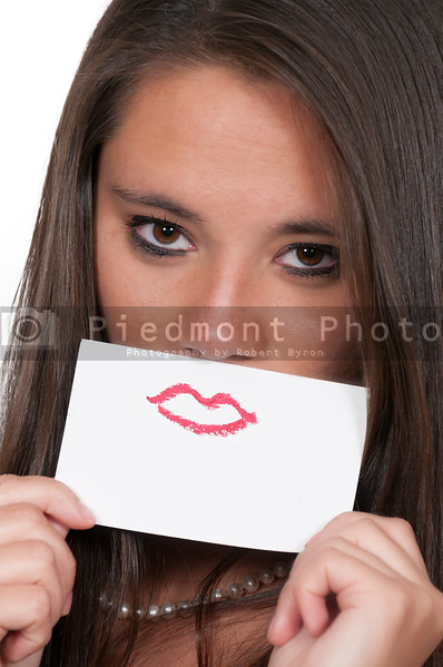 Woman with lipstick smile