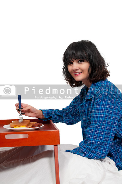 Woman Breakfast in Bed