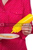 Woman Squeezing Mustard