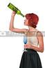 Woman with empty wine bottle