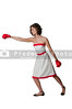 Woman boxer in red and white dress