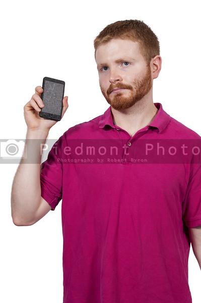 Man with broken phone
