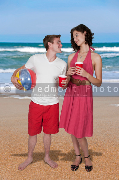 Couple drinking at the beach