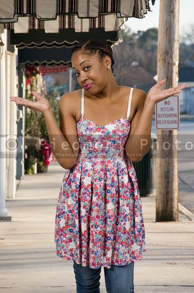 Woman shrugging shoulders