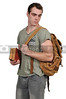 Man student with book bag