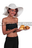 Woman holding chicken and biscuits