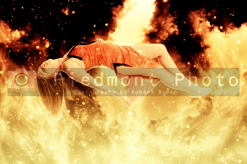 Beautiful Floating woman on fire