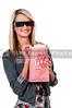 Beautiful Woman Watching 3D Movie