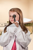 Child doctor with an otoscope