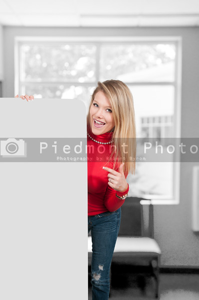 Woman behind a display