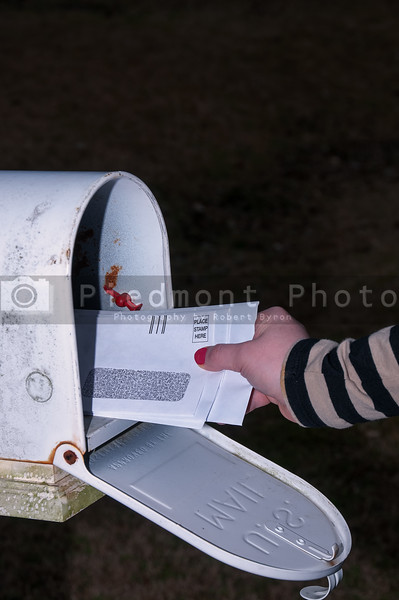 Woman checking the mail