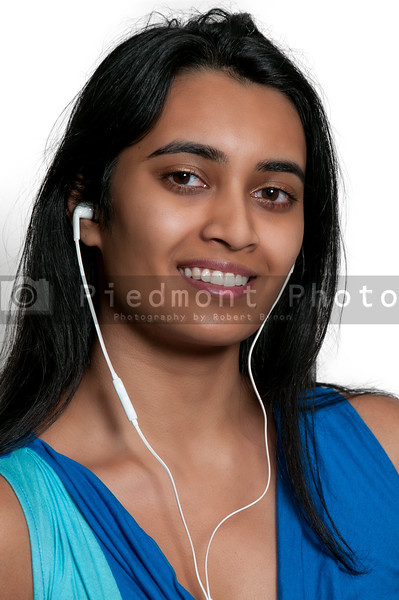 Woman with ear buds