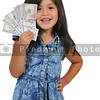 Little girl with cash money