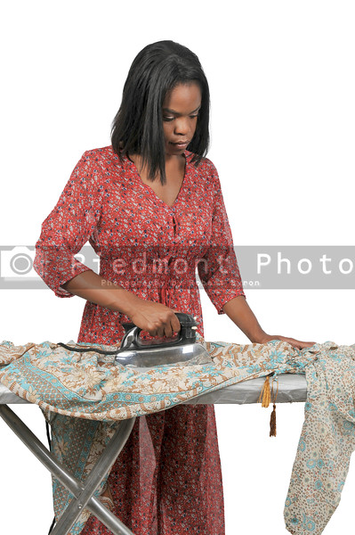 Woman with electric iron