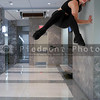 Woman Doing Parkour indoors