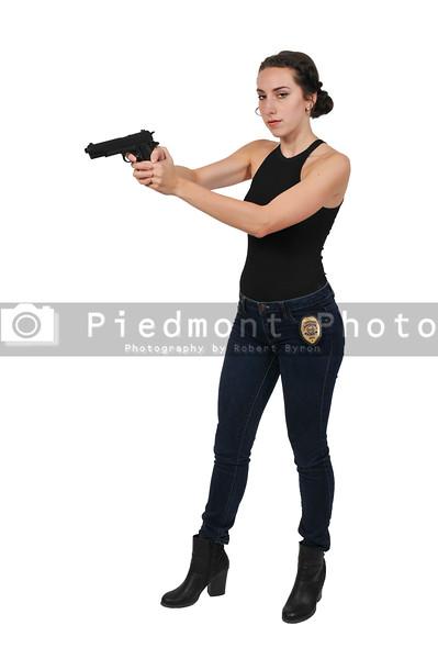 Female Detective with gun