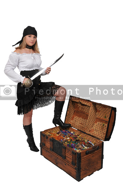 Woman pirate opening chest