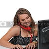 Woman on desktop computer and phone