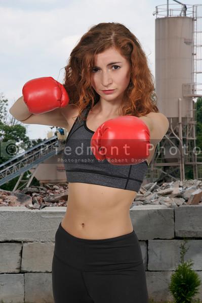 Beautiful woman boxer