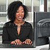 Woman on desktop computer