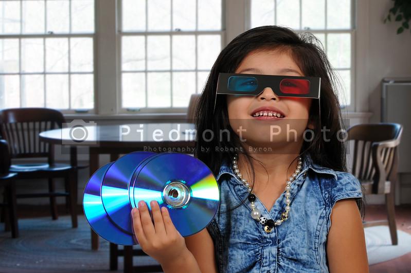 Little girl Watching 3D Movie