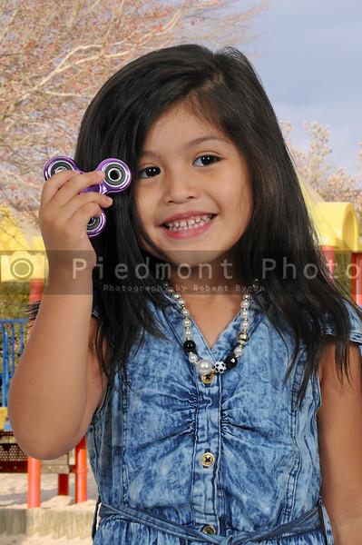 Girl with fidget spinner