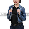 Woman wearing jeans and denim jacket