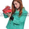 Beautiful woman opening a present
